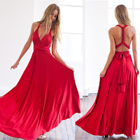 Women Long Dress Sexy Strapped Lady Party Maxi Dress Bridesmaid Dress