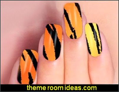 tiger nail stickers  nail tatoo themed animal print nail designs - animal themed nail art - wild animal nail art - animal print nail decals - tiger nail stickers - leopard nail stickers -   Jungle Animals Nail Art Sticker Decals