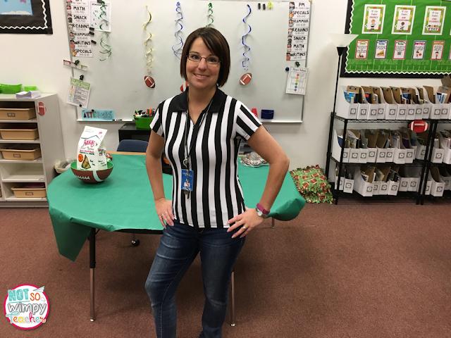 Sports theme classroom fraction super bowl party- Not So Wimpy Teacher
