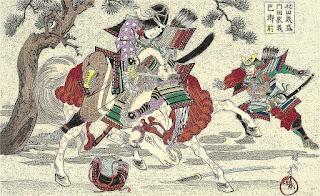 Tomoe Gozen desafiando al samurái del clan Taira.