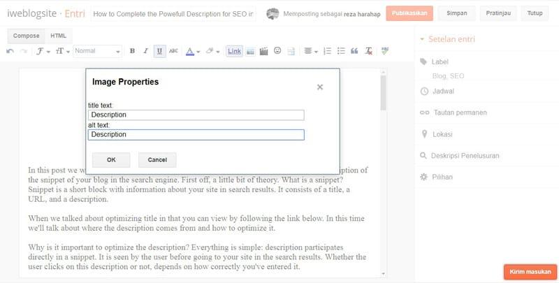 Description, Meta Tag for SEO Blog Articles