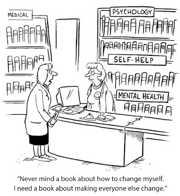 Cartoon of a woman asking for a book in a book store...not to change herself but to change everyone else