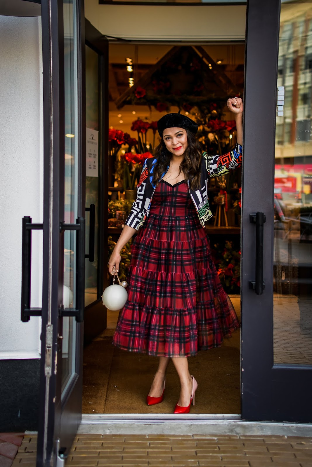 holiday outfit, tulle modcloth dress, red tartan dress, midi dress outfit, print mixing, street style, carrie bradshaw, cele style, myriad musings