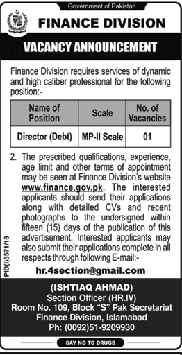 Jobs Vacancies In Finance Division Govt Of Pakistan 07 February 2019