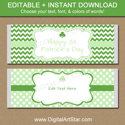 Printable candy bar wrappers with shamrocks for St Patricks Day; moden design in green & white with chevron & polka dots