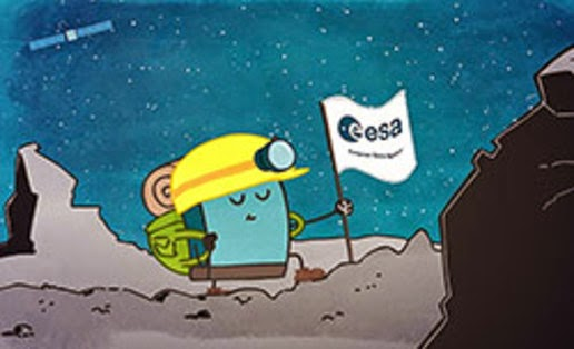 Cartoon illustration of Philae on the comet's surface 67P