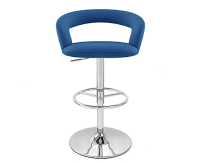 Zuri Furniture Dark Blue Monza Modifiable Height Swivel Armless Bar Stool