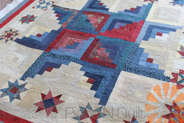 Piece N Quilt: Log Cabin Star Quilt - Edge to Edge Machine Quilting by Natalia Bonner