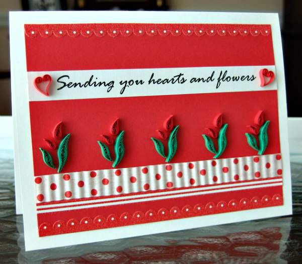 red and white quilled hearts and flowers Valentine card