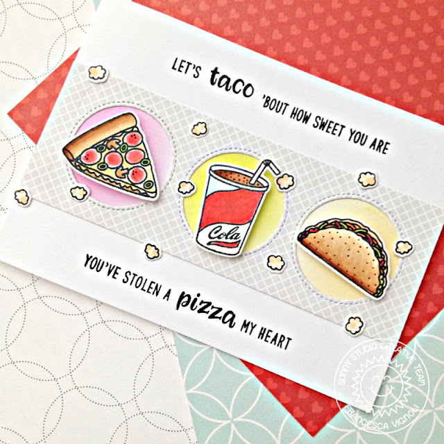 Sunny Studio Stamps: Fast Food Fun Window Trio Circle Dies Punny Card by Franci Vignoli
