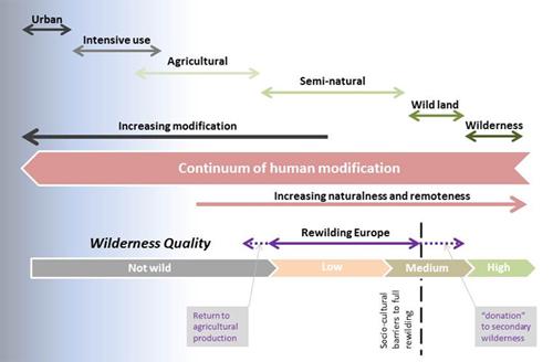 European wilderness continuum map