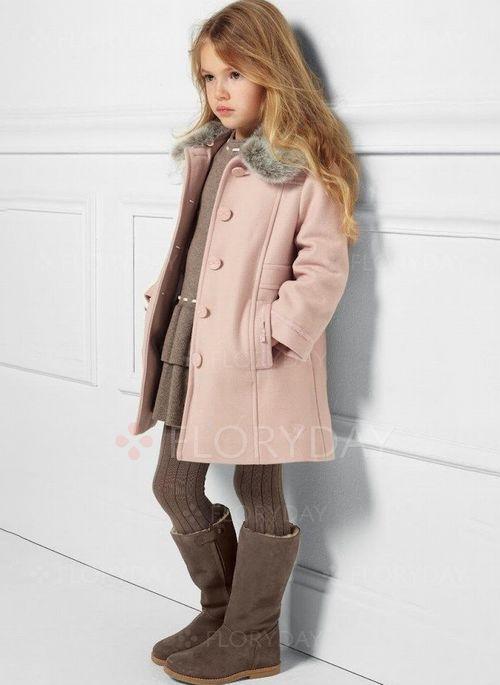 Girls' Vintage Color Block Collar Coats