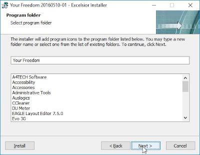 Choosing program folder