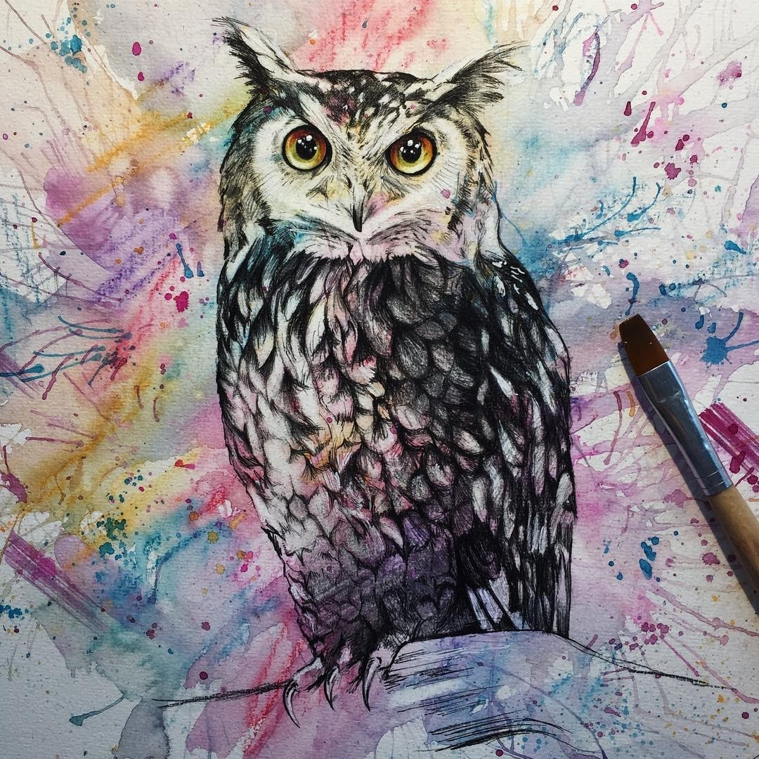 03-Great-Horned-Owl-Liam-James-Cross-Wild-Animals-Drawings-and-Paintings-www-designstack-co