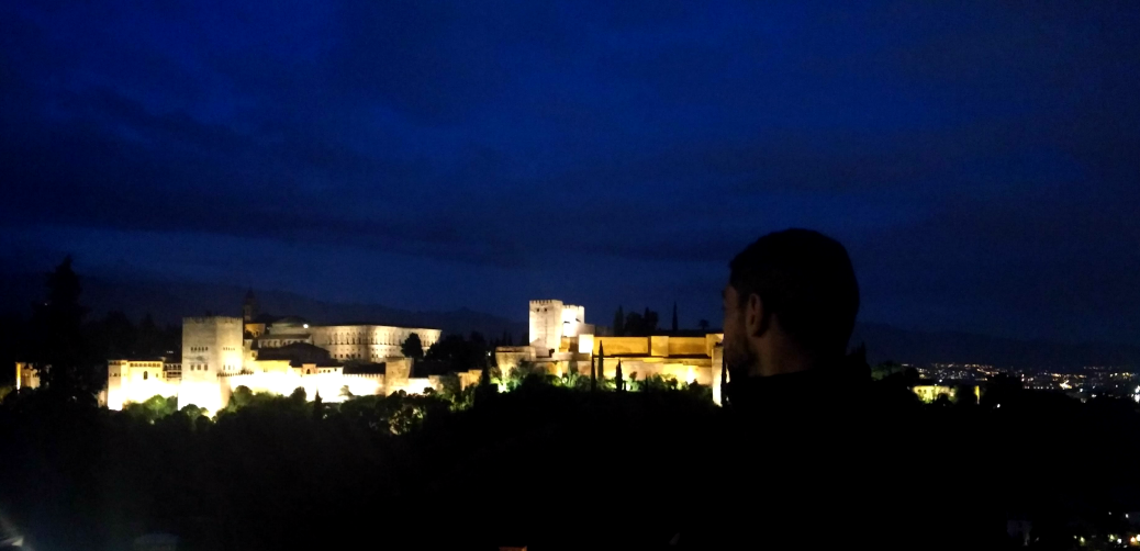 View of Alhambra at night