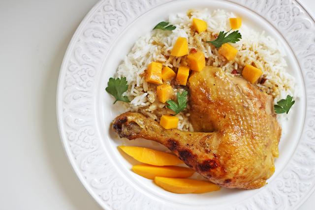 Κοτόπουλο με Γάλα Καρύδας και Μάνγκο