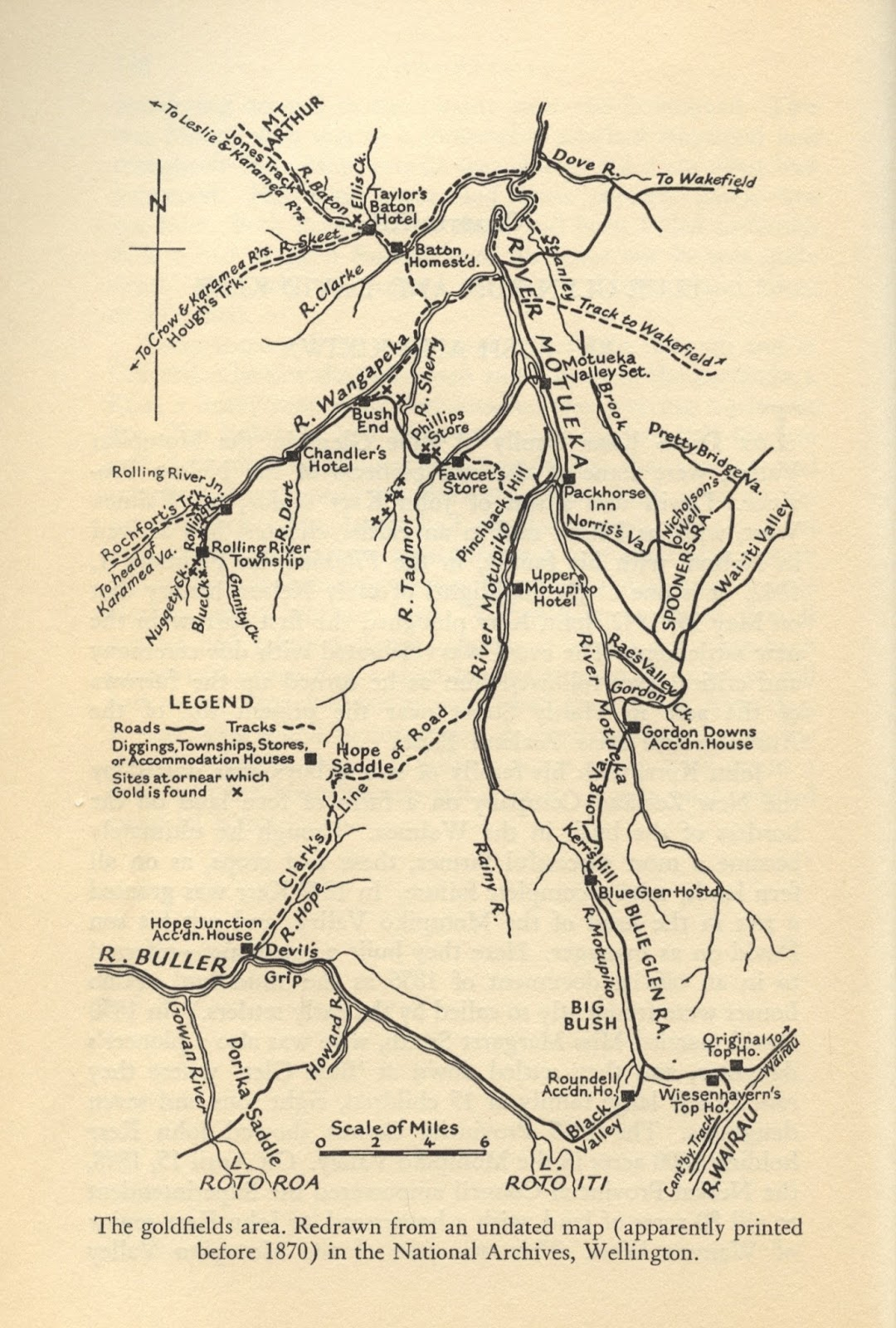 map of the wangapeka diggings pre 1870