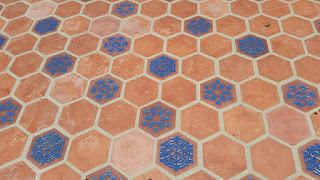 A closer look at the blue-glazed Malibu with terracotta tiles at the Adamson House.