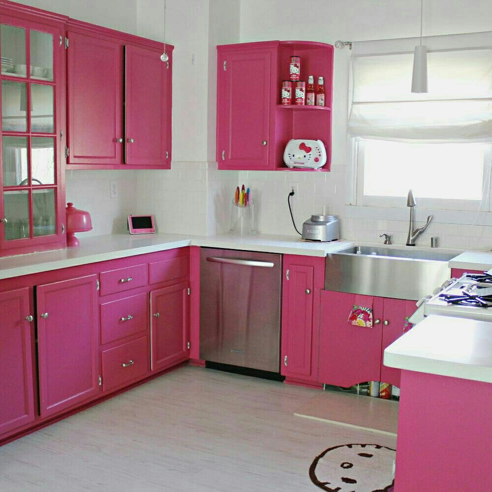 Uma cozinha cor de rosa feita de sonhos