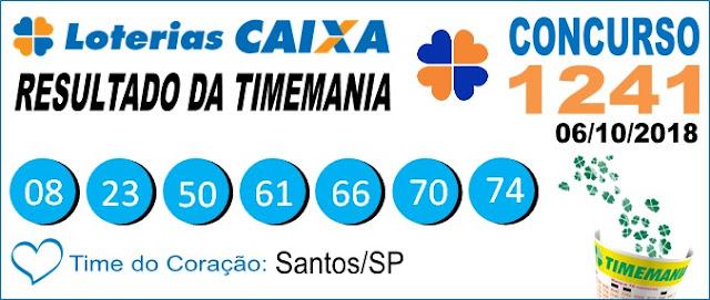 Resultado da Timemania concurso 1241 de 06/10/2018 (Imagem: Informe Notícias)
