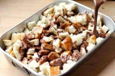 Resepi Ringkas Puding Roti Nutella