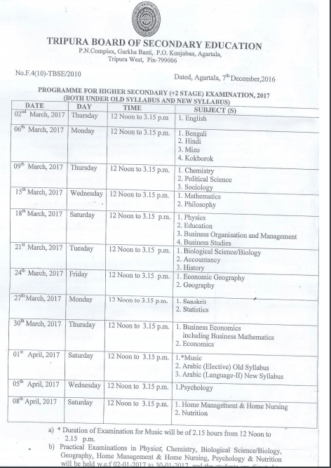 tbse date sheet download