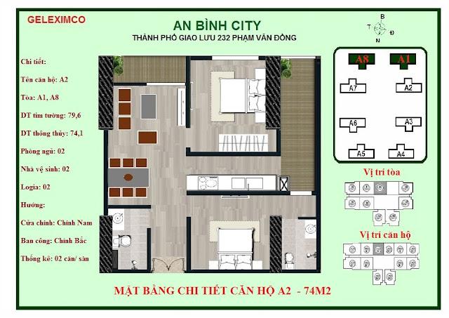 Mặt bằng thiết kế căn hộ A2 - 74m2 An Bình City