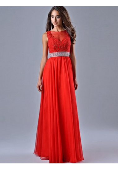 A-line Scoop Floor-length Chiffon Prom Dresses/Evening Dresses #SI043