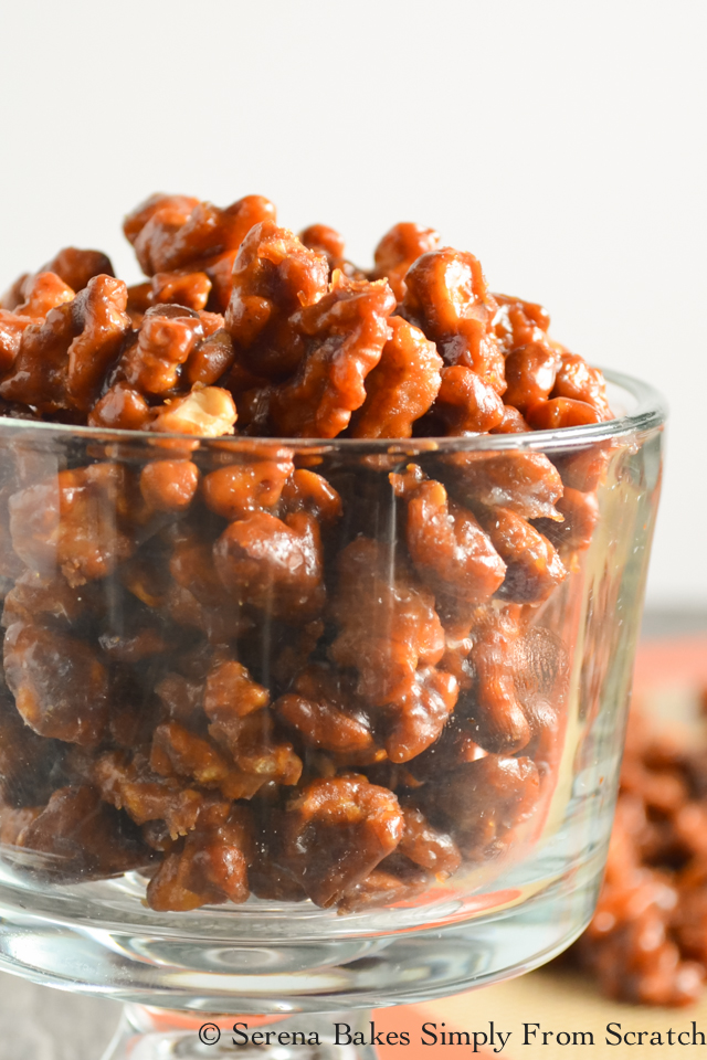 Toffee Walnuts are delicious plain, served with dessert, with cheese, or on salad.