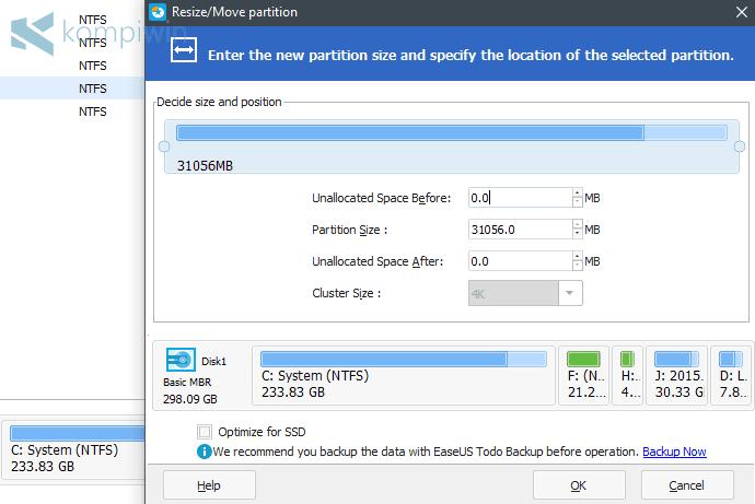ubah ukuran kapasitasa hdd drive c