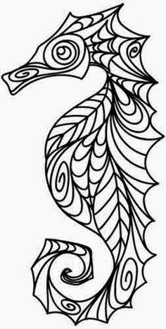 Seahorse celtic tattoo stencil