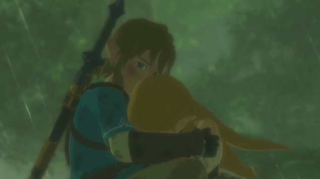 The Legend of Zelda Breath of the Wild Link crying arms caring for shipping blushing