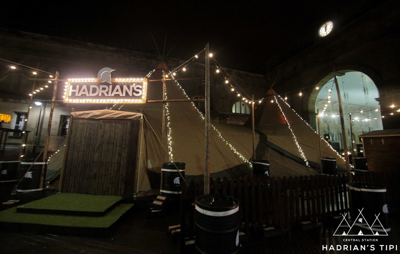 Hadrian's Tipi Opens at Central Station, Newcastle on 10th November 2016. Serving Mulled wine, spiced cider, hot chocolate & local food by warming log fires.