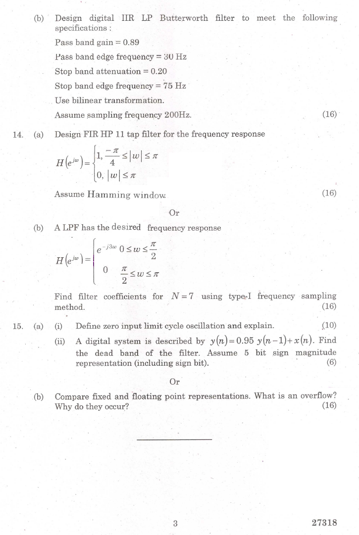 IT6502 Digital Signal Processing Nov Dec 2015 Question Paper