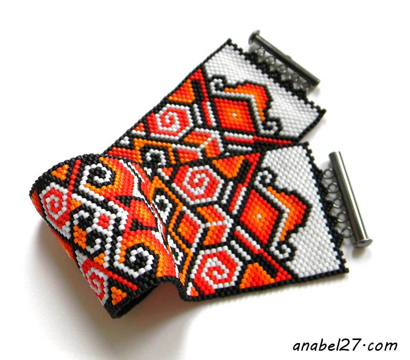 peyote bracelet beadwork beadweaving pattern beaded cuff