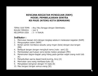 Download Contoh RKM Sentra PAUD Usia 3-4 Tahun 2016