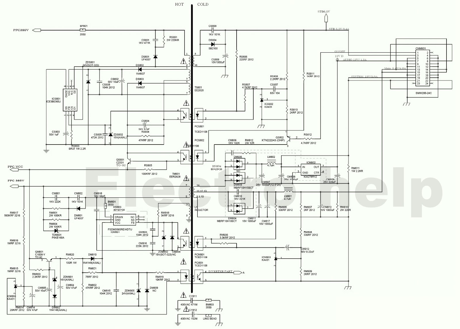 SAMSUNG TU40EO LED LCD TV POWER SUPPLY  SCHEMATIC  Tips