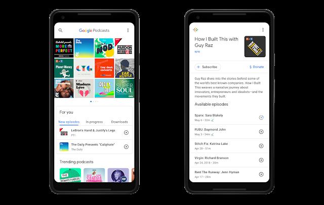 2 Smartphones mit der Google Podcast Anwendung