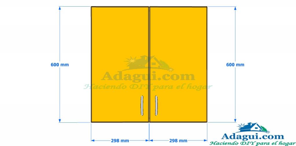 Plano y dise o con medidas mueble alto de cocina melamina for Planos para cocina de melamina