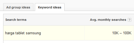 hasil pencarian google keyword planner untuk harga tablet samsung 10k-100k
