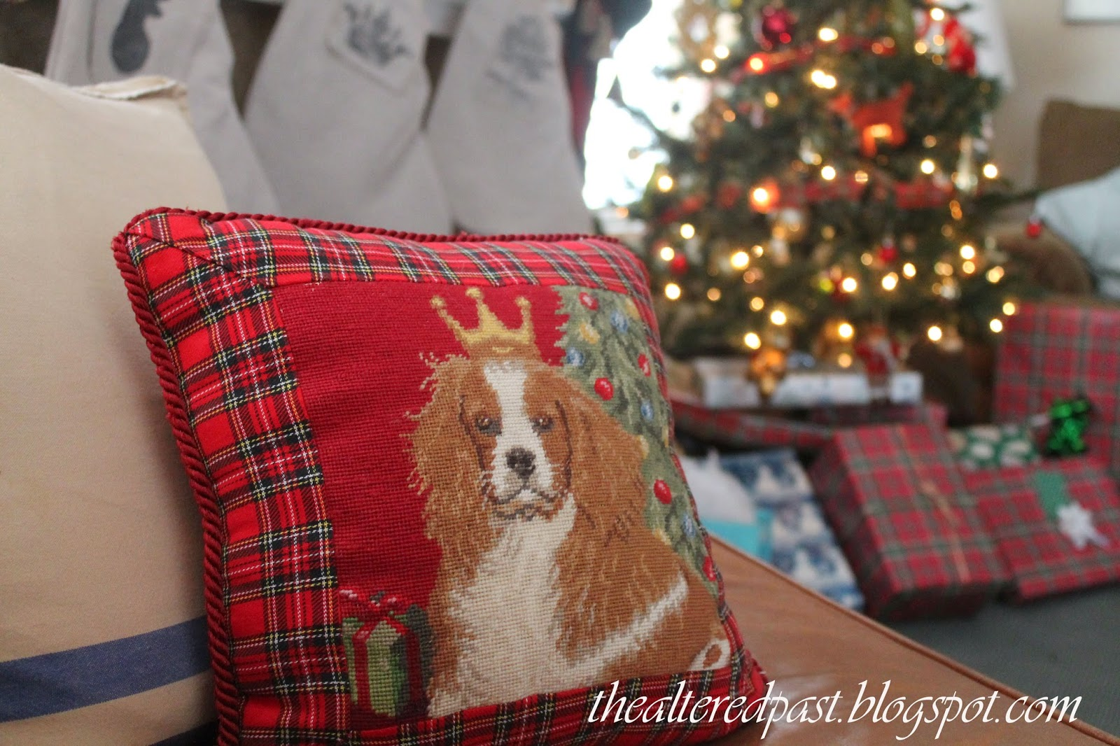 king charles spaniel needlepoint pillow, christmas home decor, the altered past