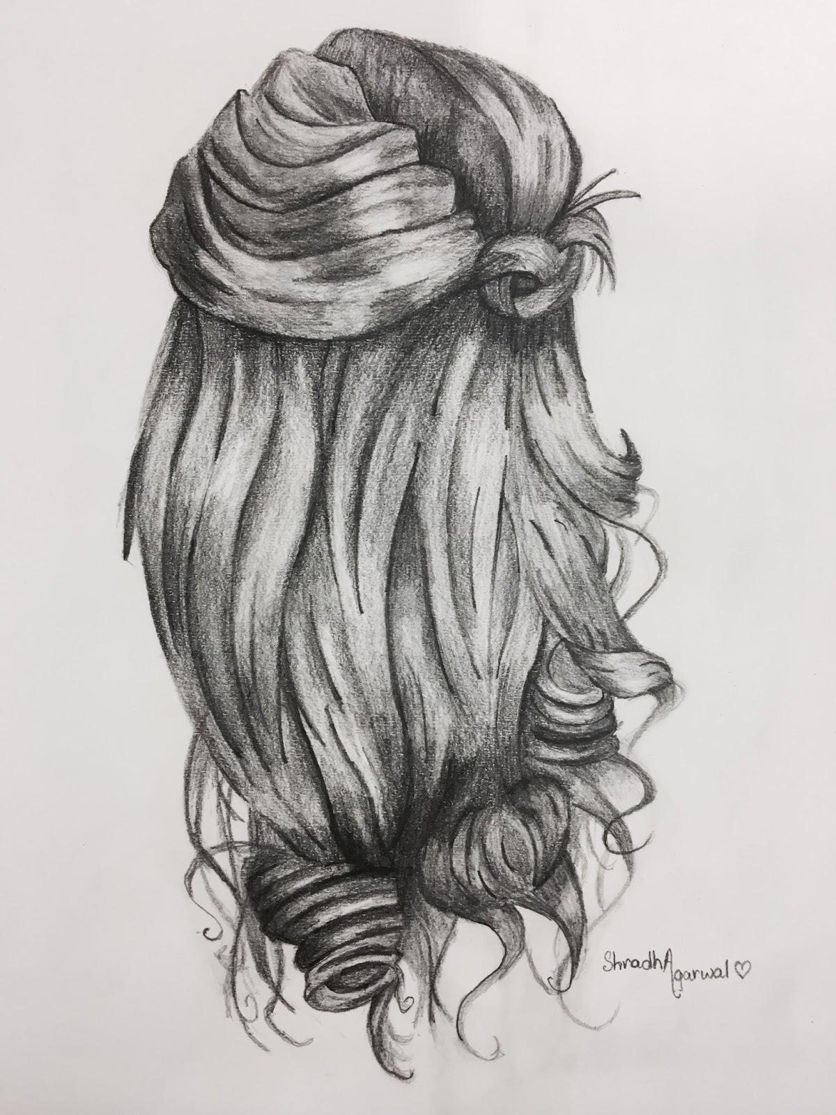 Hair study pencil sketch