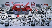 Just a few of the thousands of parts that make up the complicated internal combustion engine gas-powered car ( Image Credit: Daum Blog) Click to Enlarge.