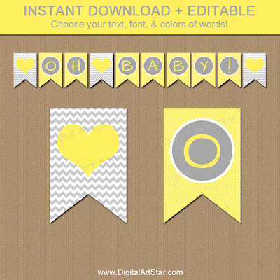 yellow and gray printable baby shower banner for gender neutral baby shower