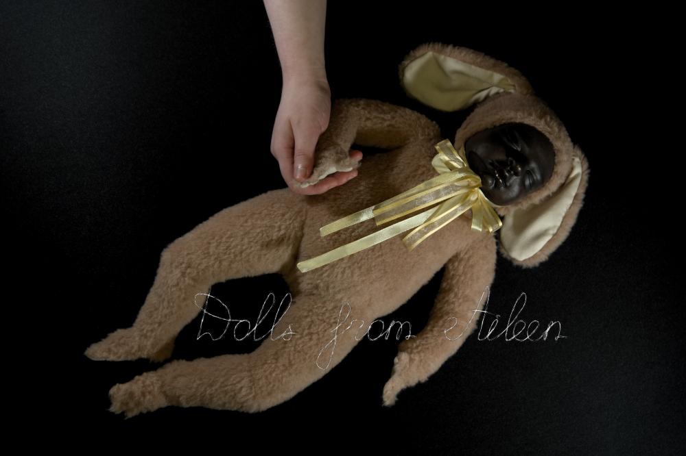 ooak baby teddy doll holding human hand