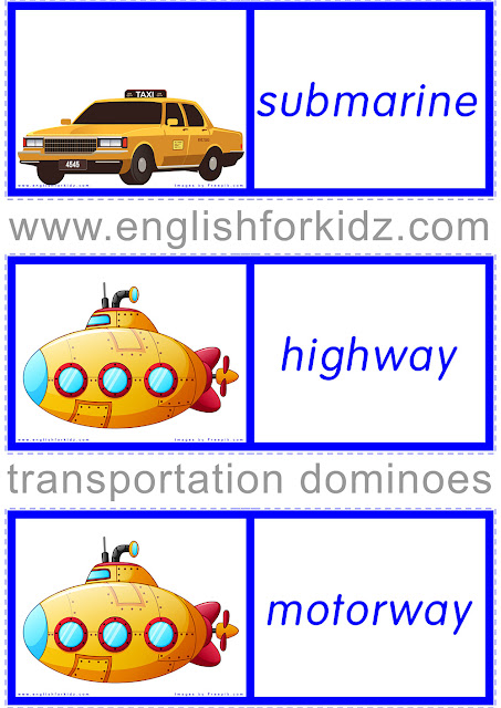 Printable transportation vocabulary game for English learners