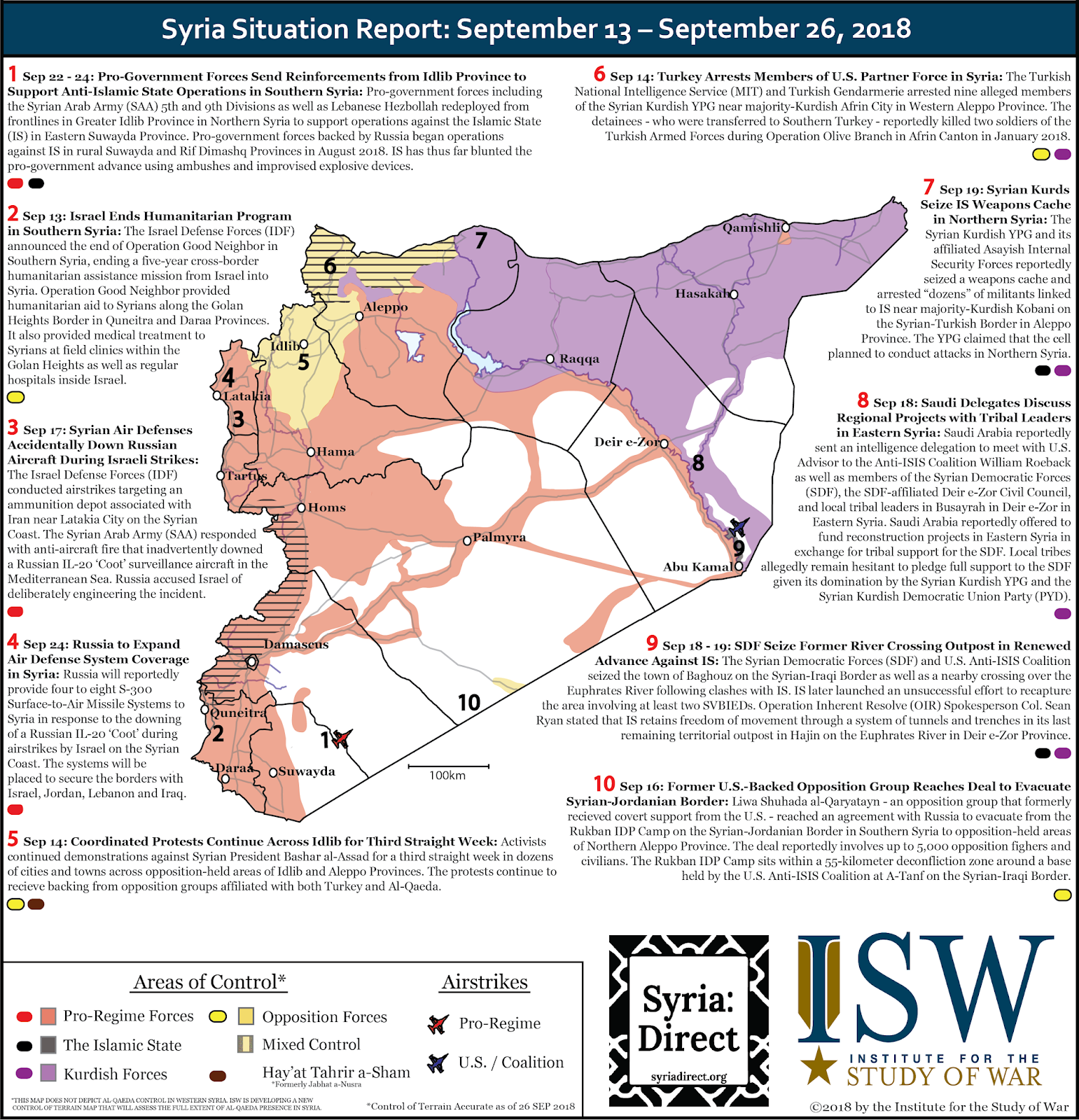 the map depicts significant developments in the war in syria during the period september 13 26 2018