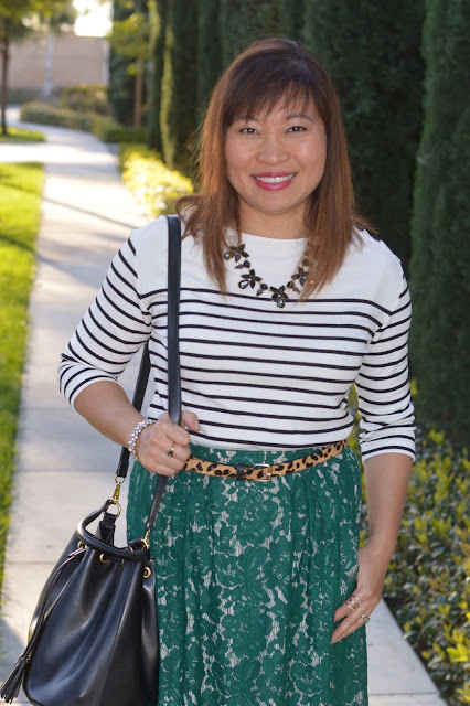 Pattern mixing, J Crew Floral lace skirt