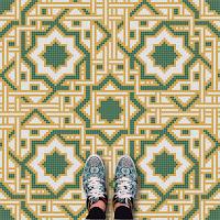Modelos de alfombras vinilicas - Verde, amarillo y blanco