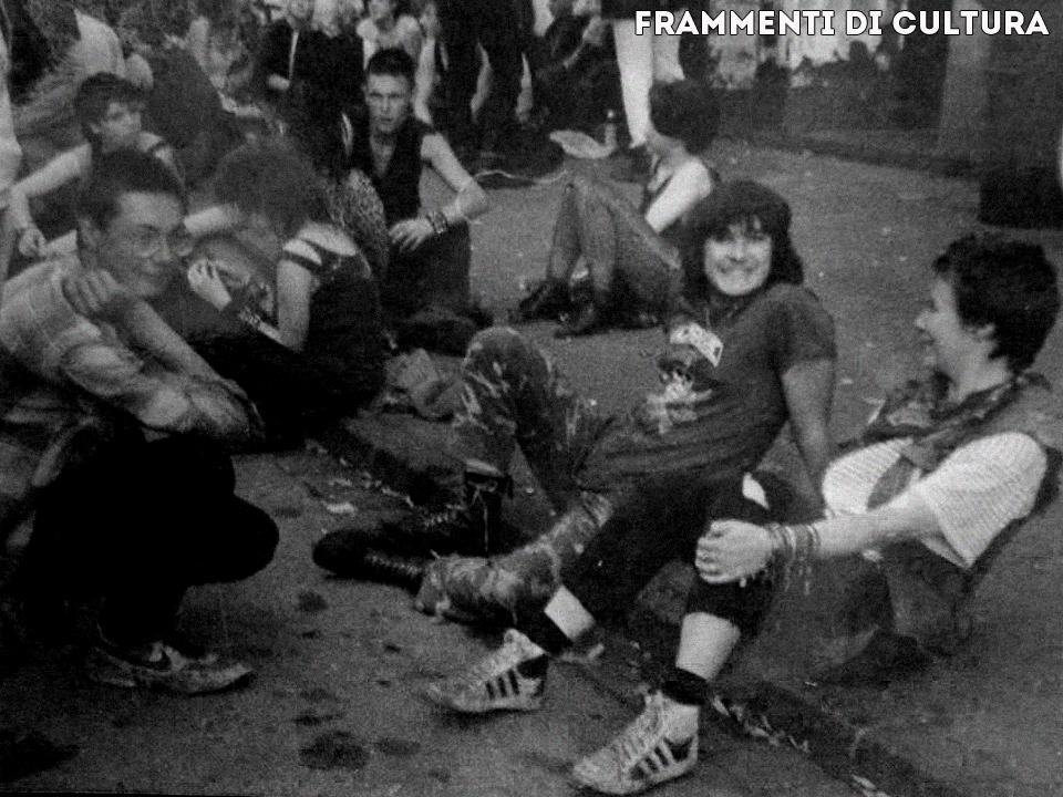 Giampo Coppa e gli Stinky Rats prima di un concerto a Diusburg, 1986.